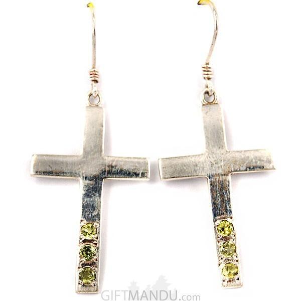 Silver Earring - Cross Design