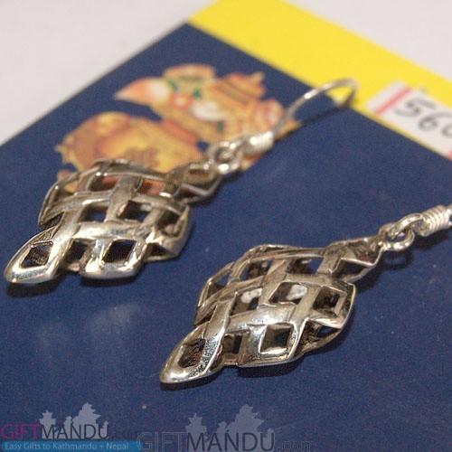 Silver Earring - Net Design