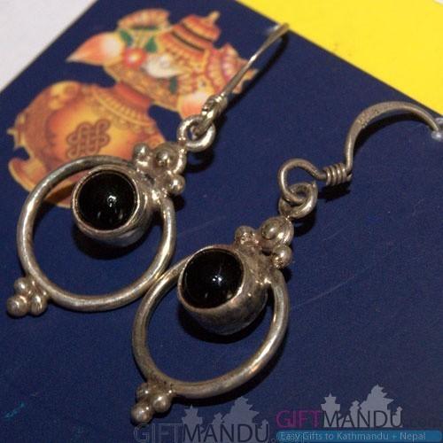 Silver Earring - Black Dots