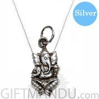 Silver Necklace Rounded 18 inches with Silver Ganesh Ji Pendant