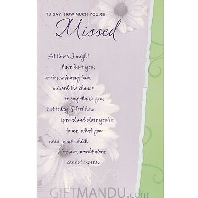To Say How Much You're Missed Greeting Card