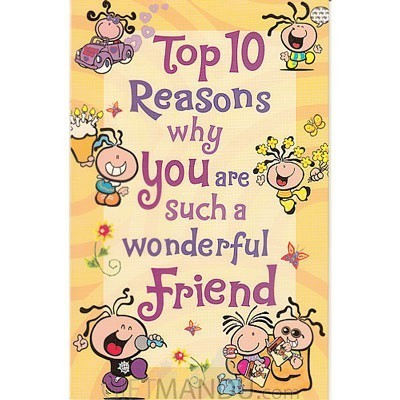 Top 10 reasons for wonderful friend greeting card send gifts to top 10 reasons for wonderful friend greeting card m4hsunfo