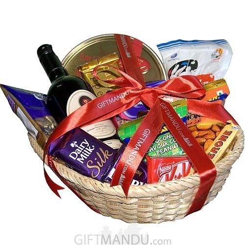 Wine Cookies Chocolates Basket