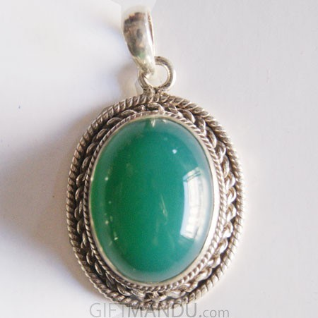Silver Pendant - Green Onyx Stone