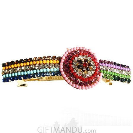 Multi Color stone and beads design Hair Clip