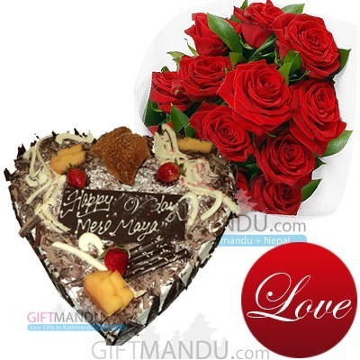 Five Star Heart Cake with Roses