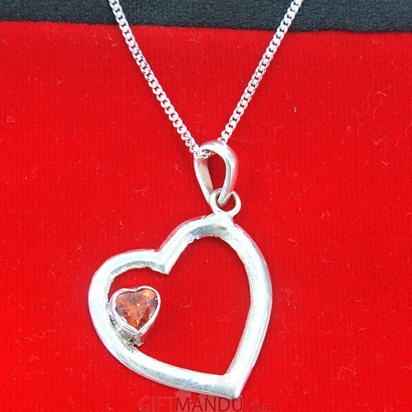 Sweetheart Red Stone Silver Love Pendant (Silver Necklace Included)