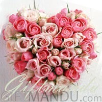 Perfect Heart for Your Valentine (Heart Shape Fresh Pink and White Dutch Roses)