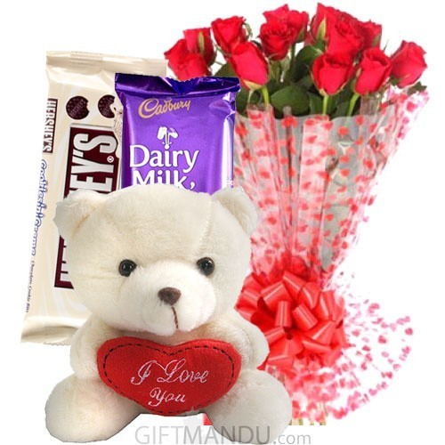 Hershey's, Cadbury Silk, Love Teddy Bear and Fresh 20 Roses