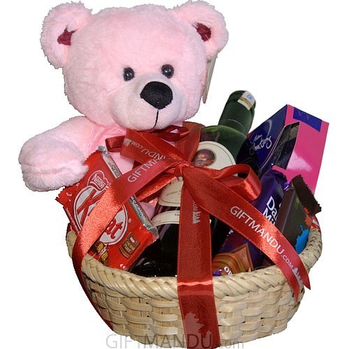 chocolates teddy gift basket online shop gifts to nepal giftmandu. Black Bedroom Furniture Sets. Home Design Ideas