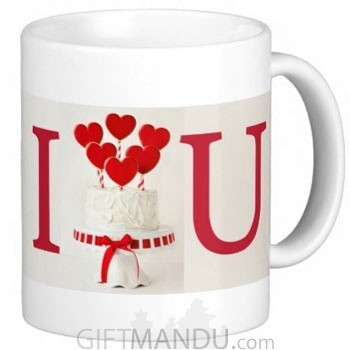 Valentine Love Mug With Personalized Message Print (I Hearts U Cake)