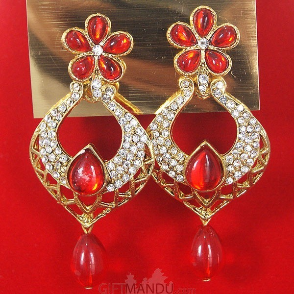 Fashion Stone Earrings - Red Jhumka