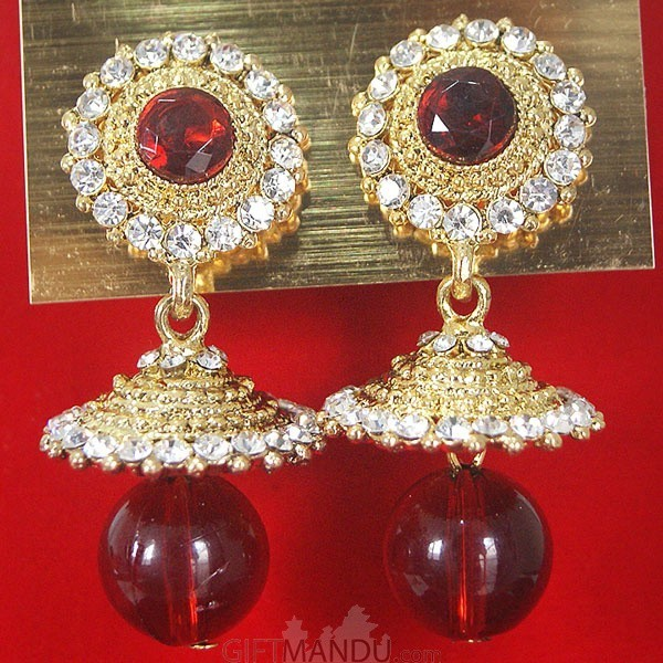 Fashion Stone Earrings - Red Ruby Jhumka