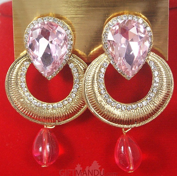 Fashion Stone Earrings - Circle with Pink Ruby