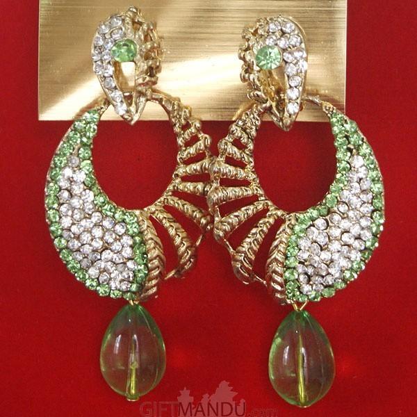 Fashion Stone Earrings - Light Green Jhumka
