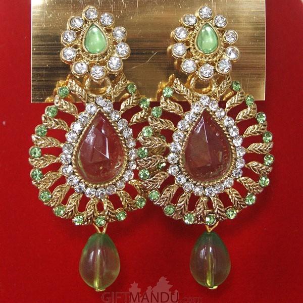 Fashion Stone Earrings (Light Green Jhumka)