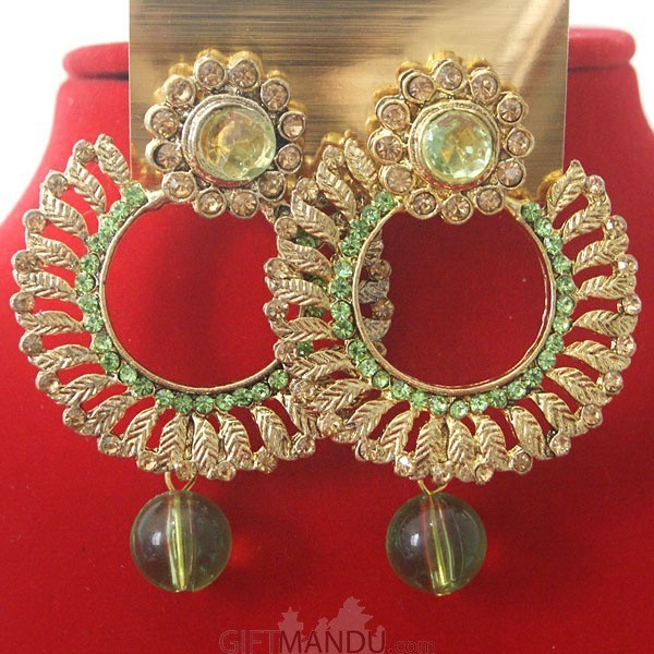 Fashion Stone Earrings - Round Shape Light Green Jhumka