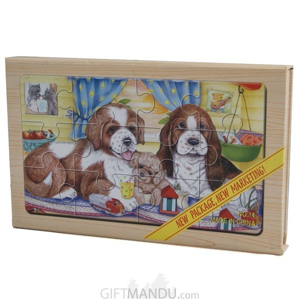 4 in 1 Wooden Picture Puzzles of Pets (Dogs)
