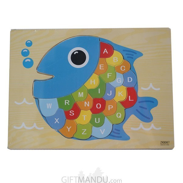 Wooden Puzzles For Kids - Alphabets in Fish ShapeWooden Puzzles For Kids - Alphabets in Fish Shape