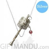 Designer's Silver Necklace Rounded 18 inches with Revolving Mane Pendant