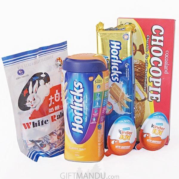 Horlicks, Biscuit, Chocopie, Kinder Joy (5 items)