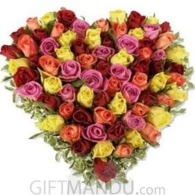 Flowers Speak Love (Fresh Mix Color Roses Arranged on Heart Bamboo Basket) - HID