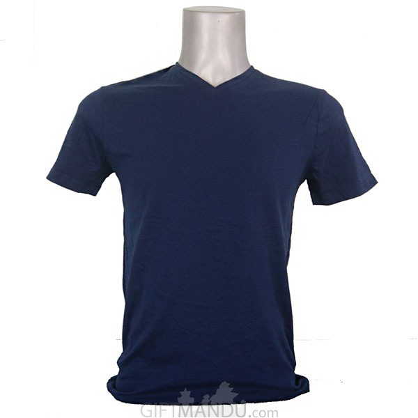 Navy Blue Casual Cotton Tshirt (V-Neck)