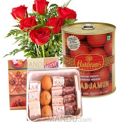 Assortment Sweets and Flower Bunch with Gulab Jamun