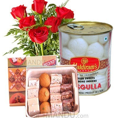 Assortment Sweets and Flower Bunch with Rasbari