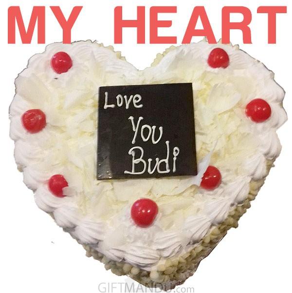 White Forest Love Heart Cake for Kathmandu Valley
