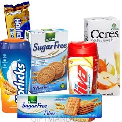 Biscuits, Viva, Horlicks and Fruit Juice