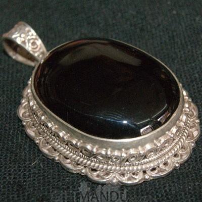 Silver Pendant - Black Stone
