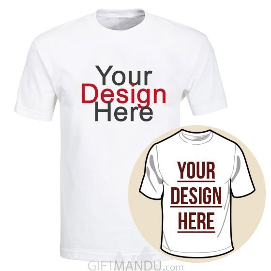 c9ff8d8c2 Custom Tshirt Printing With Your Photo and Text (White Round Neck) - M, ...