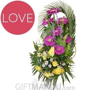Beautiful Purple Gerbera and Yellow Roses Basket