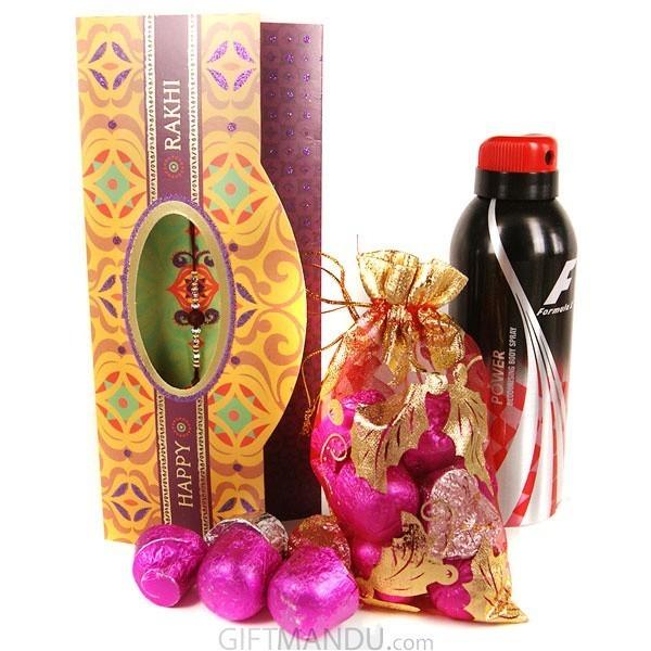 Rakhi Card with Gourmet chocolate and Body Spray