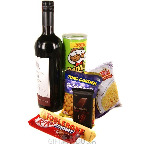 Red Sweet Wine and Party Snacks Combo with Chocolates