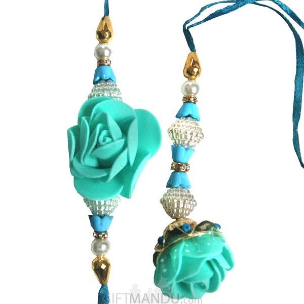 Beautiful Green Rose Rakhi Thread For Bhaiya & Bhabhi (2 Set)