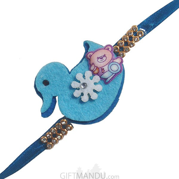Blue Rakhi Thread for Kids (Bird & Teddy)