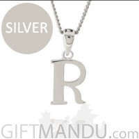 Name letter silver pendant (First name initial)