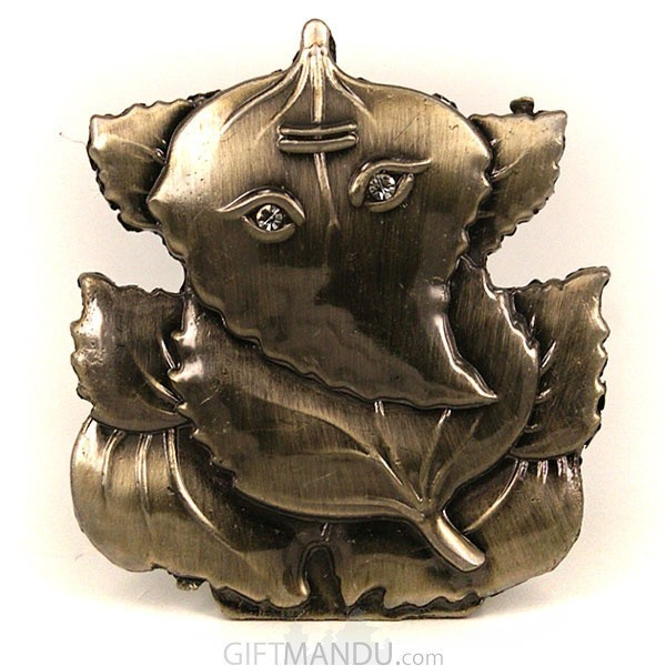 Advitiya Black Metal Leaf Ganesh Idol (2 inch)