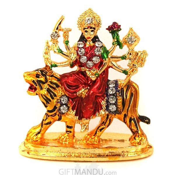 Metal and stone studded Goddess Durga Idol (2 inch)