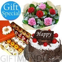 Five-Star Cake and Mithai with Half Dozen Mix Roses