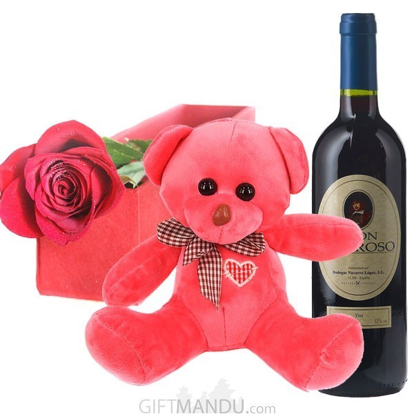 Valentine Rose, Teddy and Sweet Red Wine from Spain