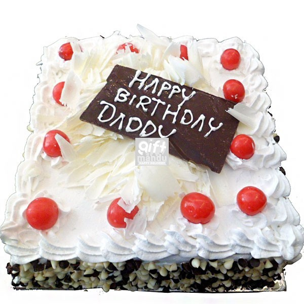 White Forest Square Shape Cake Delivery Gifts To Nepal Giftmandu