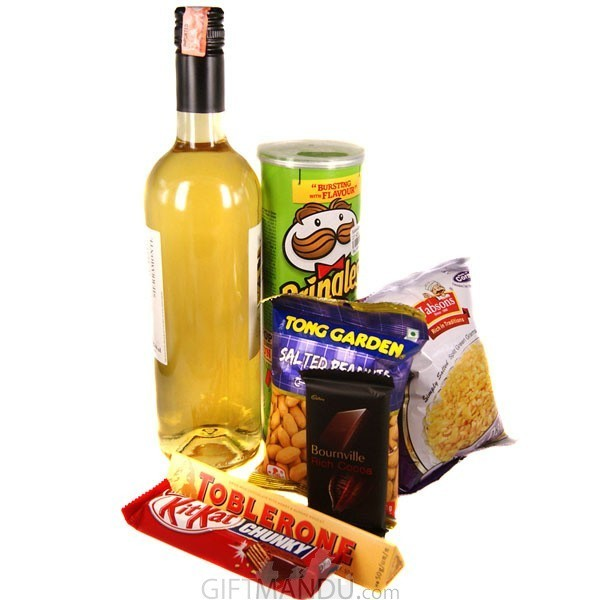 White Sweet Wine and Snacks Combo with Chocolates