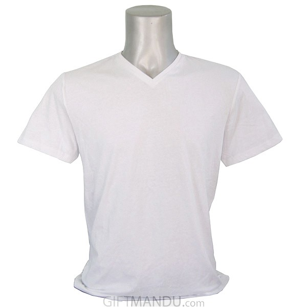 White Casual Cotton Tshirt (V-Neck)