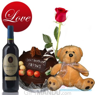 wine, cake, and teddy bear