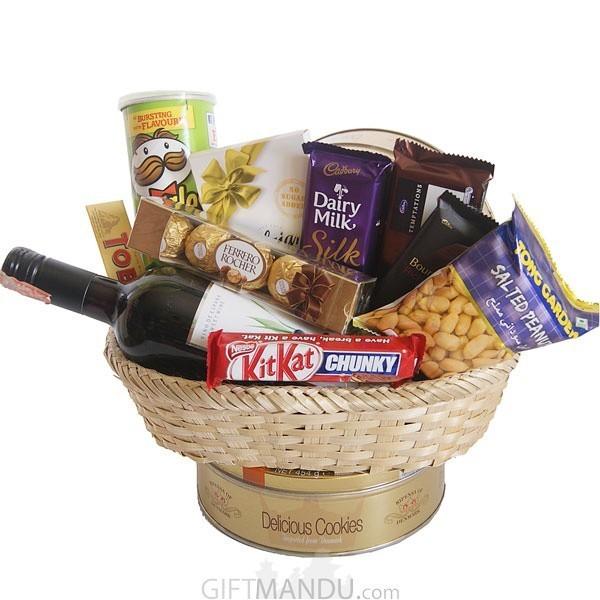 Chocolates, Cookies, Snacks and Wine Beautifully Arranged Basket