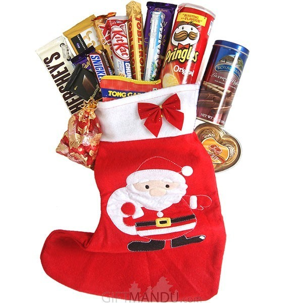 Chocolates Snack Filled Christmas Stocking Gift (15 Items)