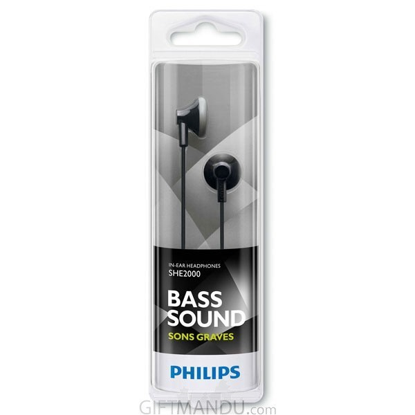 Philips Earbud Headphone- Black SHE2000/10